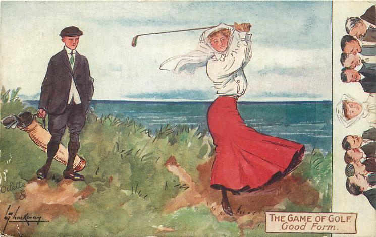 GOOD FORM  male golfer admires the form of his female partner