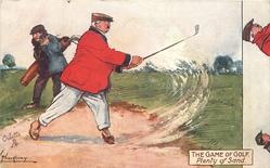 PLENTY OF SAND golfer raises a sand storm