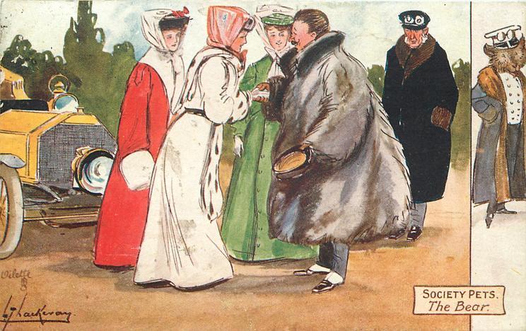 THE BEAR  motorist in huge fur coat greets three pretty girls