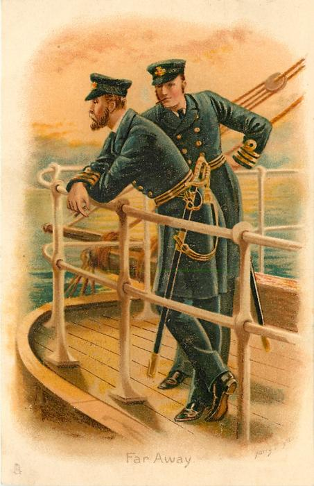 FAR AWAY naval officers look over ship railing while smoking