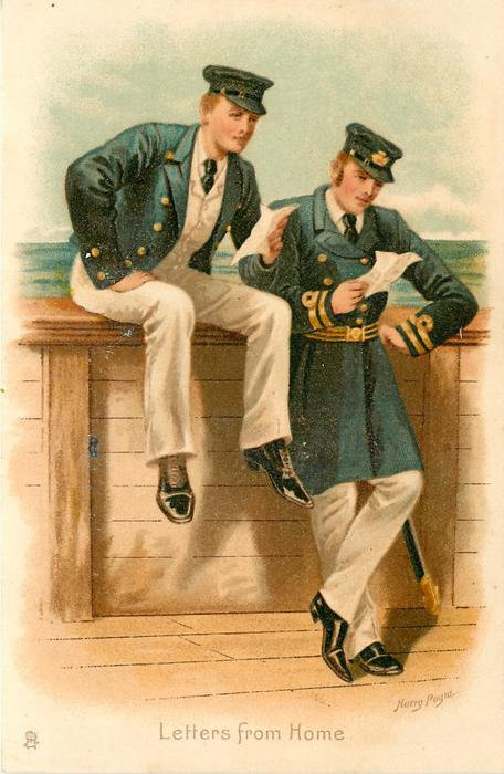 LETTERS FROM HOME two naval officers aboard ship read letters from home