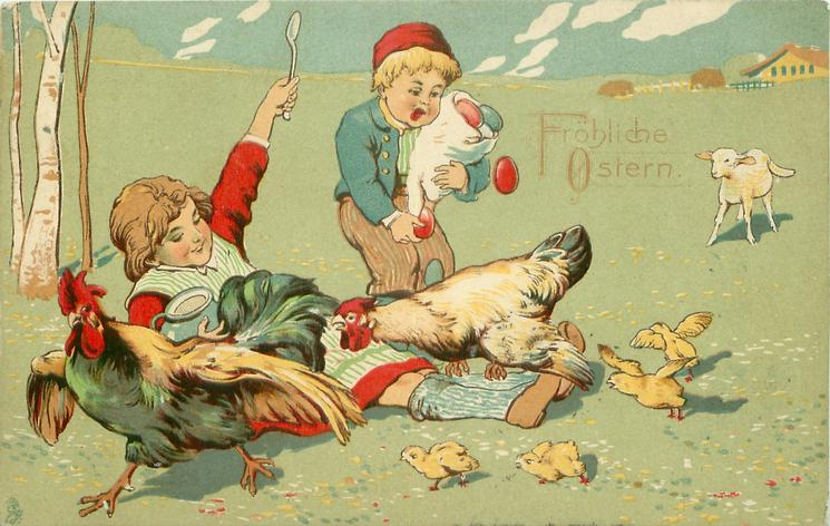 FROLICHE OSTERN hen chases cock across girls legs, boy drops coloured eggs, chicks around