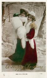 MISSES ZENA & PHYLLIS DARE  snow scene both wearing fox furs, facing left, looking front