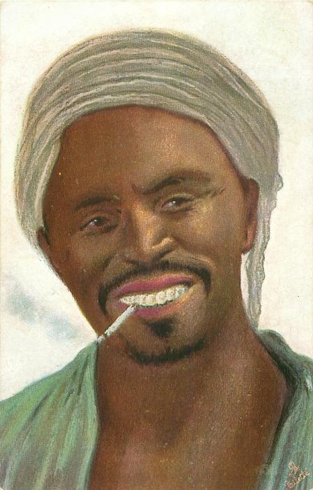 head and shoulders of black man with turban and cigarette hanging out of mouth