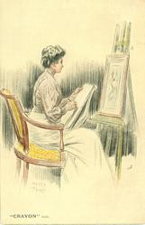 woman in chair, draws on paper, picture on easel in front