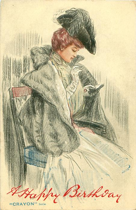 woman sitting in chair, has pencil in right hand at mouth, left hand holds notes