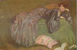 DER ROMAN  lady in long purple dress reclines on sofa