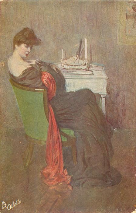 MORGENTOILLETTE  lady in off shoulder long purple dress, with red scarf sits in green chair at white table