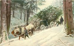 snow scene, horse-drawn moves down hill in woods three men accompany