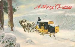 horse-drawn yellow & black mail coach drawn left along snowy road