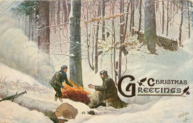 two men warm themselves by fire of sticks, large tree cut in left front