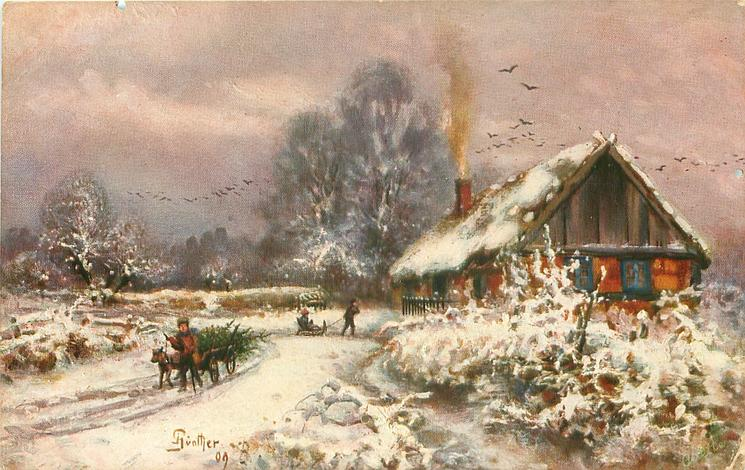 evening snow scene, dog cart carrying xmas trees moves front, child pulls another on sled, farmhouse with glowing windows & smoking chimney right