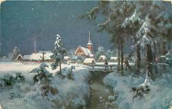 night snow scene, man on bridge over central stream, another carries Xmas tree to it, church & village behind