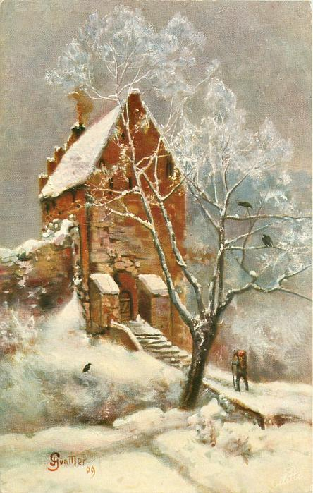 snow scene, man approaches steps leading up to tall house