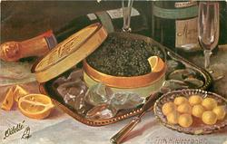 box of caviar on tray surrounded by ice, butter-pats front right, bottles & glasses behind