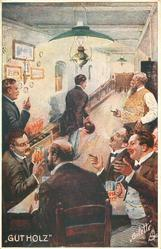 """GUT HOLZ"" seven men drink, smoke & chat whilst awaiting turn to bowl"
