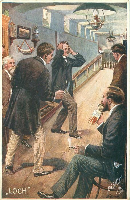 """""""LOCH"""" five men, one sits drinking, bowler puts hands to head as ball veers to left edge"""