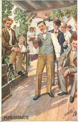 KEGLERPARTIE seven men. one preparing to bowl, barmaid brings beer