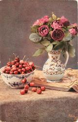 bowl of cherries left, pitcher of roses right on open book, eight cherries on table