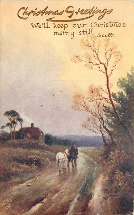 man on horse leads another horse on road, house left with smoke from chimney, distant birds in flight center