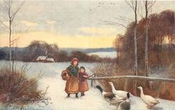 girl and boy  walk forward down path to four geese in snow
