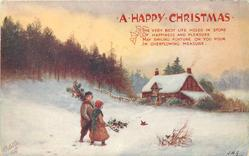 girl and boy  walk in snow toward house, boy has holly over his left shoulder, girl carries holly in her right hand