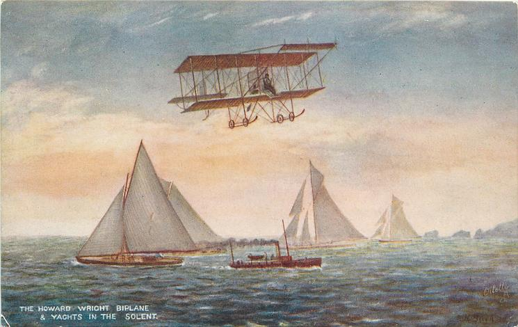 THE HOWARD WRIGHT BIPLANE AND YACHTS IN THE SOLENT