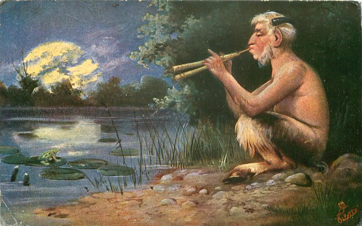 Faun PAN sits by pond playing pipes by moonlight