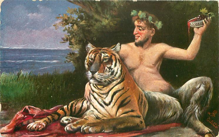 FAUN satyr sits on rug next to tiger