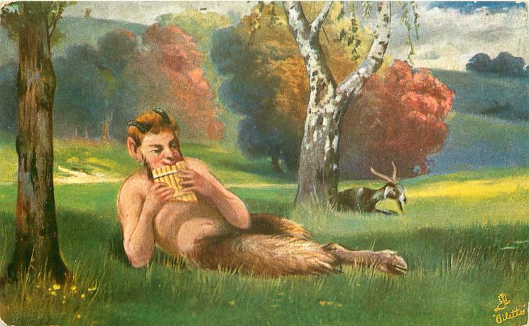 FAUN  pan lies in meadow playing pipes, goat by silver birch tree