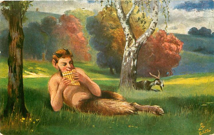 PAN  lies in meadow playing pipes, goat by silver birch tree