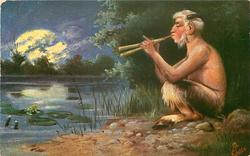 PAN  sits by pond playing pipes by moonlight