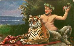 SATYR  sits on rug next to tiger