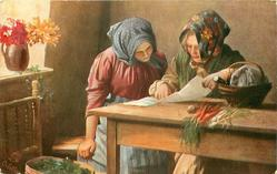 """DER LIEBESBRIEF""  two country women sit at kitchen table sharing newspaper"