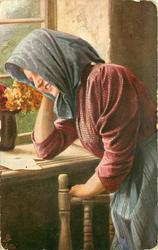 """FROHE BOTSCHAFT"" 3/4 study of peasant woman standing by window, bent forward reading a letter, vase of flowers on sill"