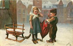 boy holds red umbrella upside down, girl rubs her left eye, sled left