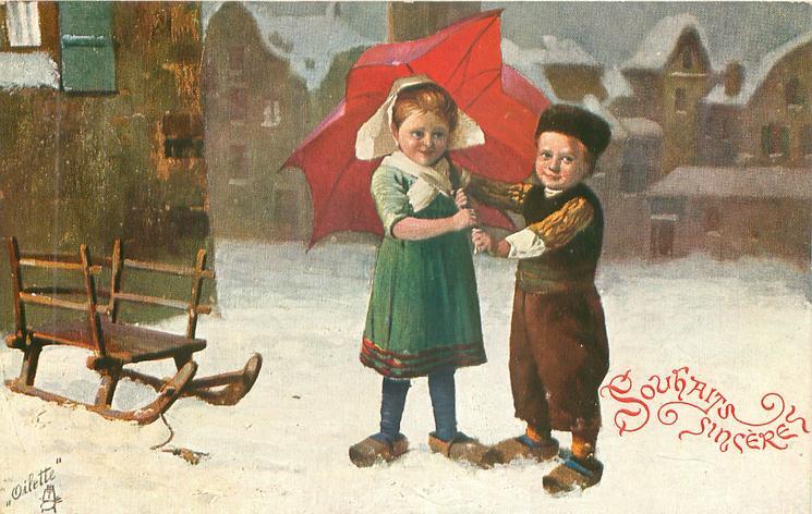 girl & boy both hold red umbrella over her left shoulder, sled left