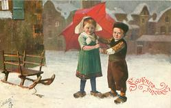 girl & boy both hold red umbrella over her left shoulder, sled left