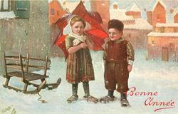 girl holds red umbrella over her left shoulder, boy stands at her side, snow scene, sled left