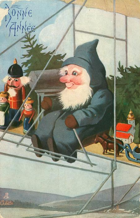 Santa wearing a blue suit piloting airship carrying presents, trees
