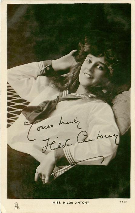 MISS HILDA ANTONY  as a sailor facing left & looking front, lying in hammock