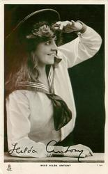 MISS HILDA ANTONY  as a sailor facing & looking right, shading her eyes with left hand