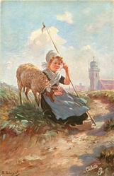 GUTE RAST  sheep & seated shepherdess