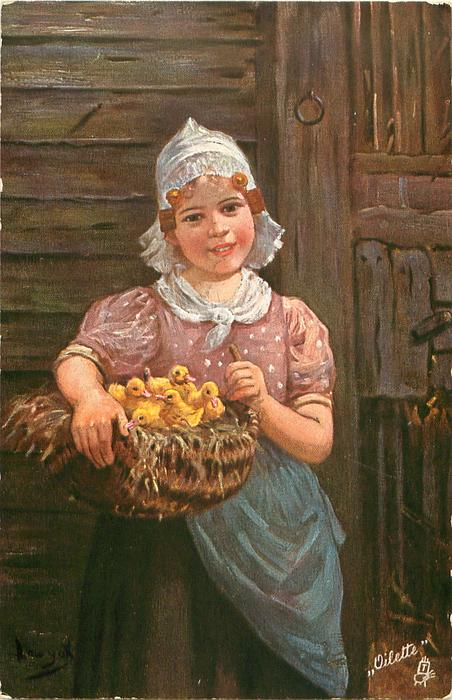 girl stands in front of wooden building holding basket of five ducklings