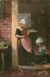 woman stands in doorway showing basket of cherries, young girl on floor