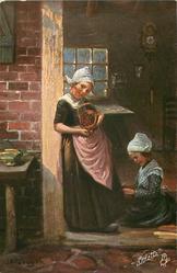 woman stands in doorway showing basket of cherries, young girl on floor