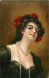 KATHLEEN  head & shoulder study,much cleavage, long rope of pearls, red flowers in hair, faces slightly right, looks up & front