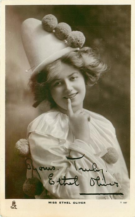 MISS ETHEL OLIVER   in clown costume