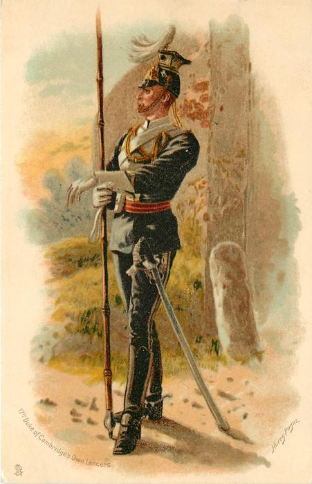 17TH DUKE OF CAMBRIDGE'S OWN LANCERS  lancer's left foot and arm forward, looking to his right