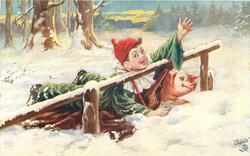 boy clown with lute falls in snow next to pig, boy's chin on fence